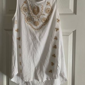 Lucky Brand white embroidered tank size small